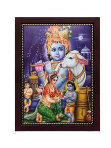 Yashodha tying Little Krishna with rope