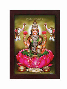 Goddess Lakshmi on pink lotus with elephants in olive green background