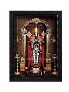 Lord Venkateshwara with rose garland and deepam