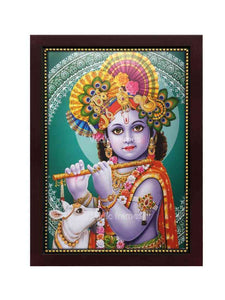 Little Krishna with turban playing flute