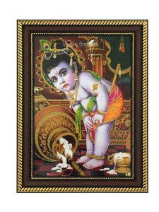 Little Krishna with overturned pot in brown background glow sand finish