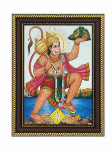 Hanuman holding Sanjeevani with Rama namam all over Him