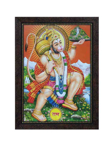 Hanuman with designed halo lifting Sanjeevani