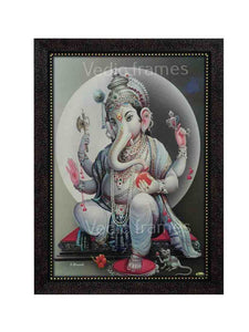 Lord Ganesha with white halo in grey background