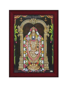 Lord Balaji with different flower garlands and plantain background