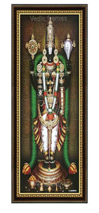 Lord Balaji with thulasi garland in brown background