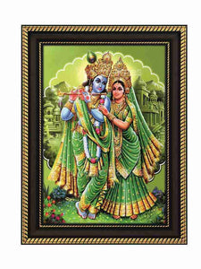 Lord Krishna and Radha in parrot green background