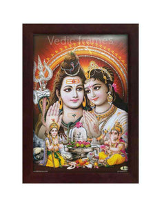 Lord Shiva and parvathi in reddish brown background glow sand finish