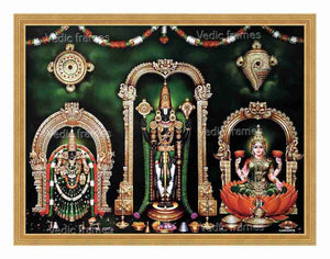 Lord Venkateshwara ,Padmavathi & Lakshmi in green vasthram in green background with sangu chakra