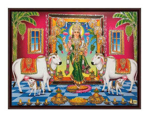 Gruhalakshmi entering a home with cow and calf glow sand finish