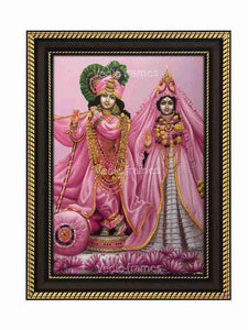 Lord Krishna and Radha in pink dress