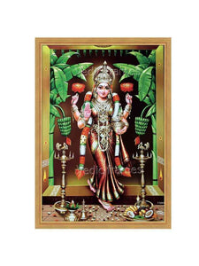 Adrushta Lakshmi entering a home with plantain trees and vilakku (red vasthram)