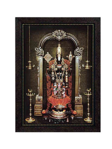 Lakshmi Venkateshwara with rose garland and prabhai in brown stone background and hanging deepam