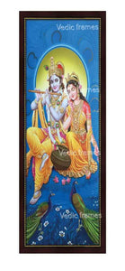 Radha Krishna in blue background with peacock Vertical