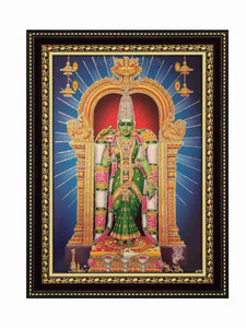 Goddess Meenakshi with prabhai in blue background glow sand finish