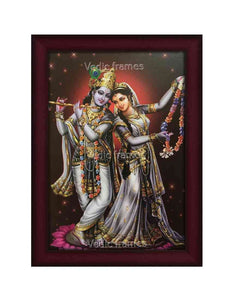 Lord Krishna with Radha holding garland in star background
