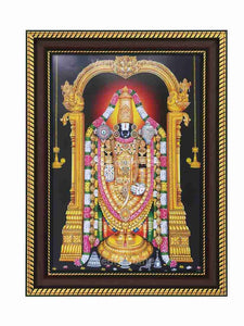 Lord Balaji with halo and hanging deepam