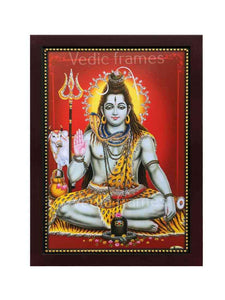 Lord Shiva with halo in red background glow sand finish