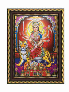 Goddess Durga in arch and pillar background glow sand finish