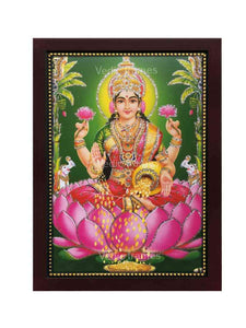 Goddess Lakshmi in green background with plantain trees glow sand finish