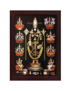 Venkateshwara with kasu malai and golden ornaments surrounded by Ashtalakshmi