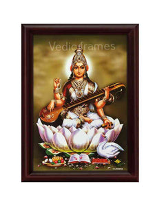 Goddess Saraswathi in pale green background