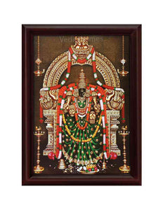 Padmavathi Thayar under arch in sanctum with hanging lamps