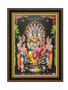 Lakshmi Narasimha in sanctum background with plantain trees