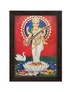 Goddess Saraswathi standing on lotus in red background glow sand finish
