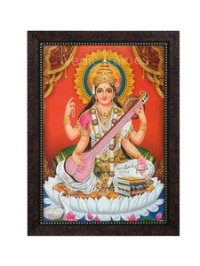 Goddess Saraswathi playing veena in orange background