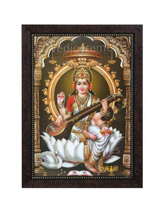 Goddess Saraswathi with prabhai in pillared background