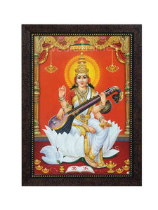Goddess Saraswathi in orange background with pillar on sides