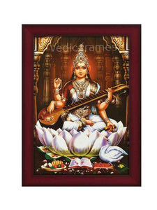 Goddess Saraswathi playing veena in multi pillar background