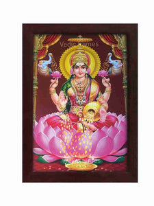Goddess Lakshmi with yellow halo in brown background