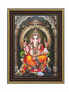 Lord Ganesha in pillared background