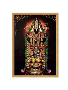 Lakshmi Venkateswara with thulasi garland and halo in brown background