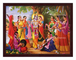 Radha Krishna surrounded by Gopikas playing musical instruments
