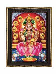 Goddess Lakshmi in Kalasam background surrounded by golden pots