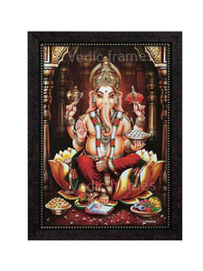 Lord Ganesha on golden lotus in pillared background