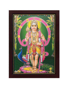 Lord Muruga in Om background with plantain leaves glow sand finish