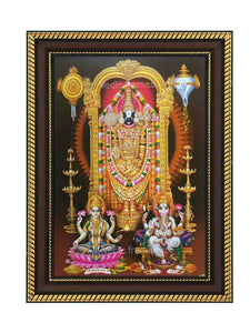 Venkateswara with Ganesha and Lakshmi in brown background