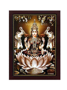 Goddess Lakshmi on orange lotus in a lake with elephants on sides in brown background