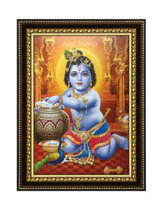 Little Krishna with pot in golden yellow background
