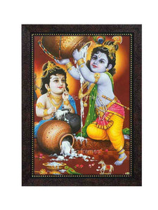 Little Krishna with Balarama spilling butter on the floor