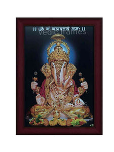 Lord Ganesha with golden ornaments blue background