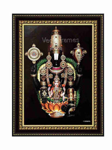 Half view of Lakshmi Venkateswara with thulasi garland in brown background