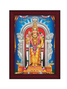 Lord Muruga in silver arch with blue background