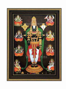 Lord Srinivasa with thulasi garland in temple sanctum surrounded by Ashtalakshmi