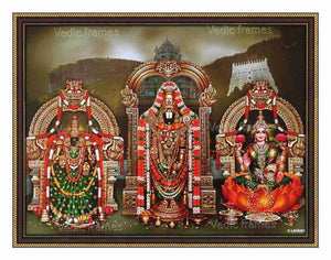 Lord Venkateswara with Mahalakshmi and Padmavathi with multicolour garland in Thirumala background