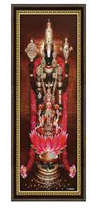 Lakshmi Venkateshwara with rose garland and temple background Vertical